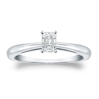 1 Ct Emerald Cut Solitaire Engagement Wedding Ring Solid Real 14K White Gold
