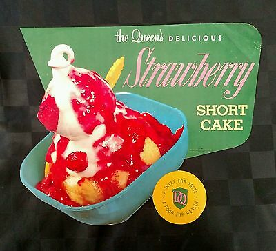 1955 DAIRY QUEEN Strawberry Short Cake die-cut paper sign. DQ display poster