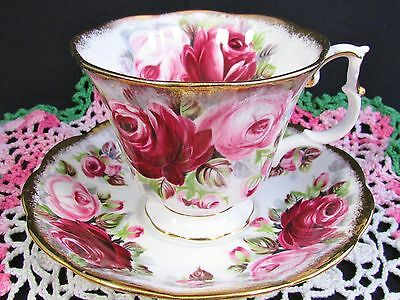 Royal Albert Summer Bounty Series Ruby Rose Tea Cup And Saucer