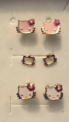 Hello Kitty, Rose GP Earrings, 3 Pairs, Pink, White, Outline