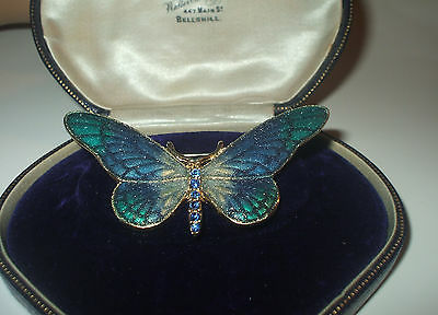 Unusual Resin Or Thermoset Gold Plated Butterfly Brooch With Blue Rhinestones