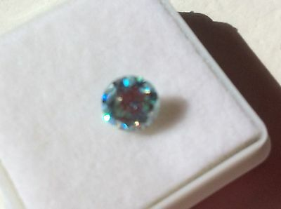 1.06 ct 6.95 mm VS2 Fancy Blue Color Round Cut Loose Moissanite TESTED