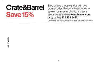 Crate and Barrel 15% off 2 purchases, expires 4/30/17