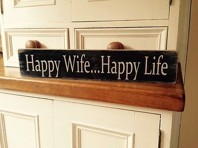 happy wife happy life Sign Wedding Gift Plaque Vintage OLD Look