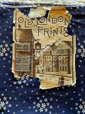 1870 OLD LONDON PRINTS Label Indigo and White Fabric Floral Cotton Antique