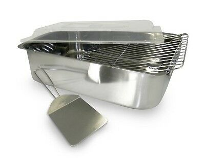 ExcelSteel 4-Piece Stainless Roaster with Cover, Rack and Spatula
