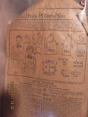 ANTIQUE 1905 HOME PATTERN CO BOYS BLOUSE PATTERN  2511 - 6 yrs chest 24 1/2
