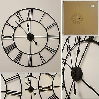 LARGE OUTDOOR GARDEN WALL CLOCK BIG ROMAN NUMERALS GIANT Black Iron 40*60cm*78cm