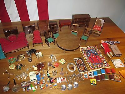Vintage Dollhouse Miniatures & Furniture Lot