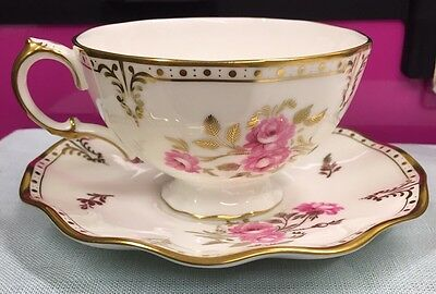 Royal Crown Derby Cup And Saucer Royal Pinxton Roses
