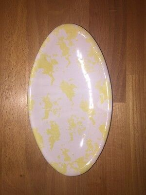 "Bybee Pottery Yellow White Speckled Spotted Spongeware ""Hot Brown"" Oval Dish"