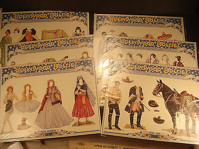 Set of 6 Hollywood Dollies Paper Dolls Uncut Valentino, Colleen Moore, Tom Mix