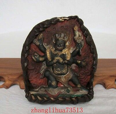 Antique Handmade Carving Statue India Buddha Turquoise & leather Inlaid