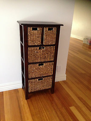 Wicker Storage Unit, 5 drawers, solid timber frame