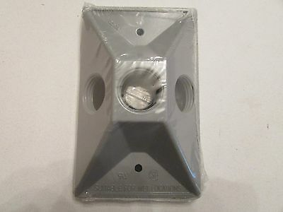 "NEW BWF RC-3V Weatherproof Outdoor Light Gray Three Hole 1/2"" Lamp Cover"