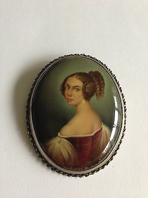 "Russian Lacquer Hand Painted Brooch "" Portrait Of A Lady"" Fedoskino,pichugina"