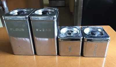 Vintage 1950's Kitchen Retro 4 piece CHROME CANISTER SET Lincoln Beautyware