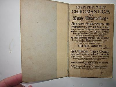 Institutiones chiromanticae by Hoping 1689 Early German Manual of Palmistry