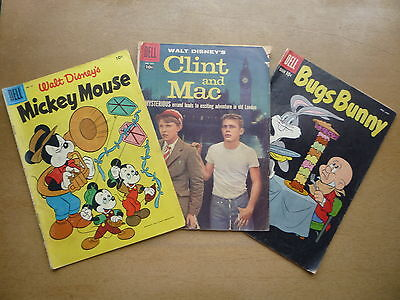 Vintage Dell Comic Book Lot Clint and Mac Mickey Mouse Disney Bugs Bunny Cartoon