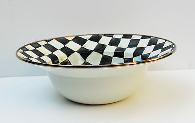 "MacKenzie Childs Courtly Check Enamelware 12"" Salad Serving Bowl"