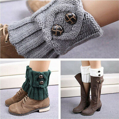 Women Winter Crochet Knitted Button Boot Cuffs Toppers Leg Warmers Socks Knit -