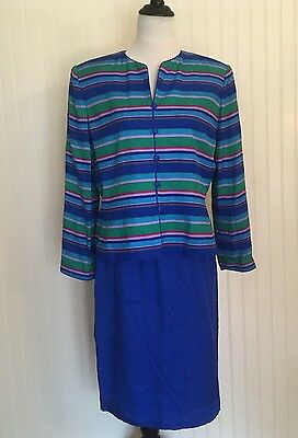 Adrianna Papell Skirt Suit Set Women's 14 100% SILK Blue Striped Jacket NWOT