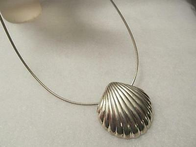 Vintage Scallop Sea Shell Sterling Silver Pendant - Necklace