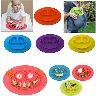 One-Piece Silicone Toddler Baby Placemat Child Divided Food Dish Bowl Plates