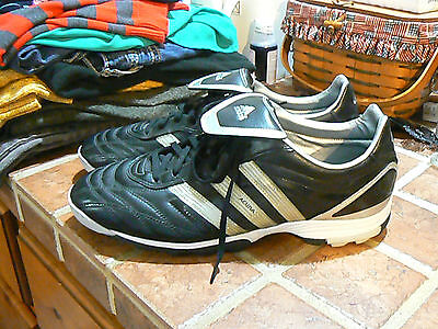Adidas Acuna Mens Black Indoor Soccer Cleats Shoes Sz 12 Traxion Sole Black Wht