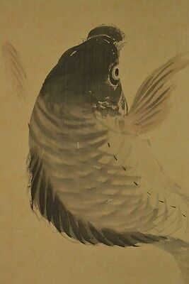 Hanging Scroll Japanese Painting Jumping Carp Asian Art Old ink Japan a320