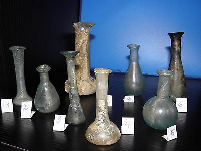 Eight Ancient Roman Glass Bottles 1st-4th Century A.D. LOT (8)