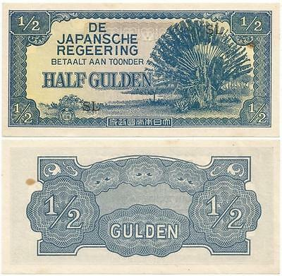 1942 WORLD WAR II ERA Japanese NETHERLANDS or DUTCH EAST INDIES Half Gulden NOTE