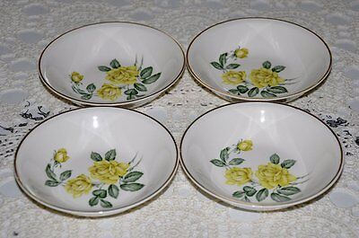 FOUR Paden City Pottery Golden Scepter Fruit Dessert Bowls Dishes Yellow Roses