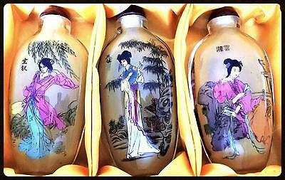 Antique 20th Century Set-6 Chinese Export Inside Painted Geisha Snuff Bottles