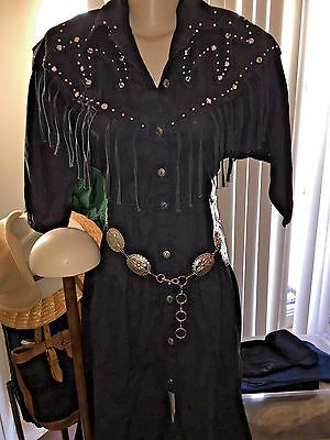 Vintage Women's Country Western BLACK Cotton Dress By MASS Paris-New York SIZE/S