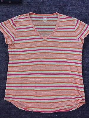 GAP MATERNITY Orange Pink White Green Stripe Top Shirt Short Sleeve Linen Medium