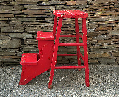 Kitchen Wood Step Stool Old Red Paint Country Kitchen Decor Display Vintage
