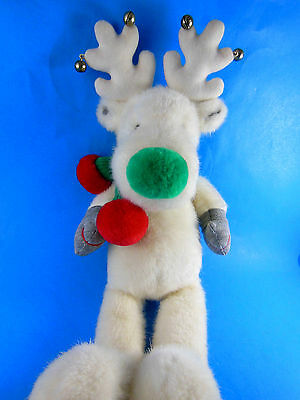 "Applause Plush White Reindeer ? Moose?  with jingle bells 16"" Snobell SUPER CUTE"