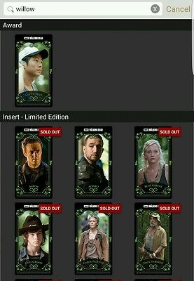 Topps Walking Dead Card Trader willow arcanum wave 1 & 2 complete with awards