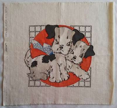 1947 Vogart tinted PUPPIES pillow cover, embroidery done make pillow or frame NR