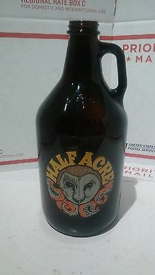 Half Acre Brewery Gigantic 64oz Empty Glass Bottle With Octopus Owl Logo Nice