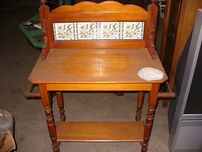 Antique timber wash stand with tiled back