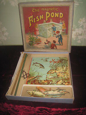"""Final Sale! Antique Spears Co. """"the Magnetic Fish Pond"""" Lithograph Toy Game!"""