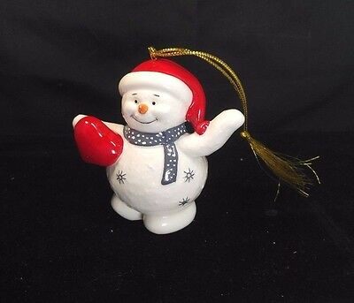 Belleek Living Holiday Collection Snowman Fine Porcelain Christmas Tree Ornament