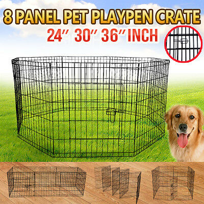 Quality 8 Panel Pet Playpen Portable Exercise Cage Fence Dog Puppy Rabbit Crate