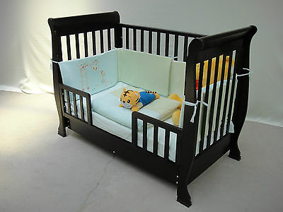 3 in1 Wooden Sleigh Baby Cot & optional Mattress, Converts To Toddler Bed