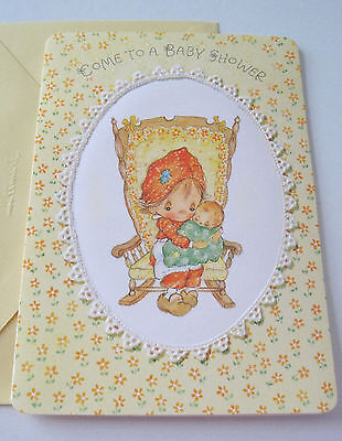 Unused Vtg Baby Shower Invitation Betsey Clark in Rocking Chair with Baby