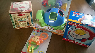 Fisher Price Melissa And Doug Toys Stacking Blocks Shape Sorter Phone Teether
