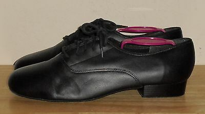 Women's Black Leather DANSHUZ Deluxe Dance Shoes Size 8 W GREAT Condition