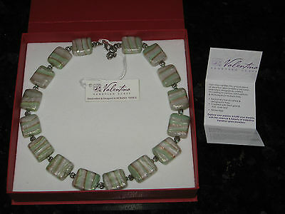New Valentina Handcrafted Venetian Murano Glass & 925 Silver Leaf Necklace